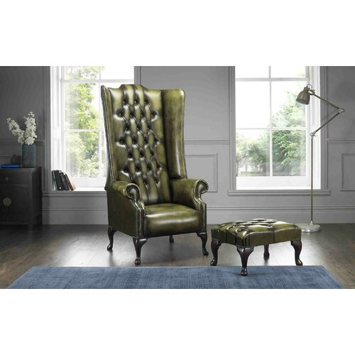 Colucci High Back Wing Chesterfield Chair and Footstool Astoria Grand Upholstery: Antique Olive