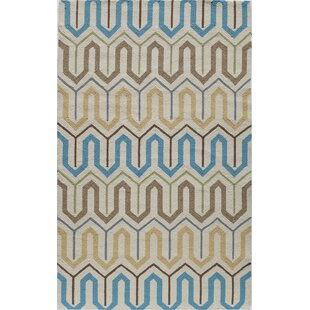 Hand-Tufted Brown/Blue Indoor/Outdoor Area Rug