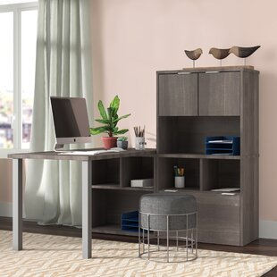 Prattsburgh L-Shape Writing Desk with Hutch
