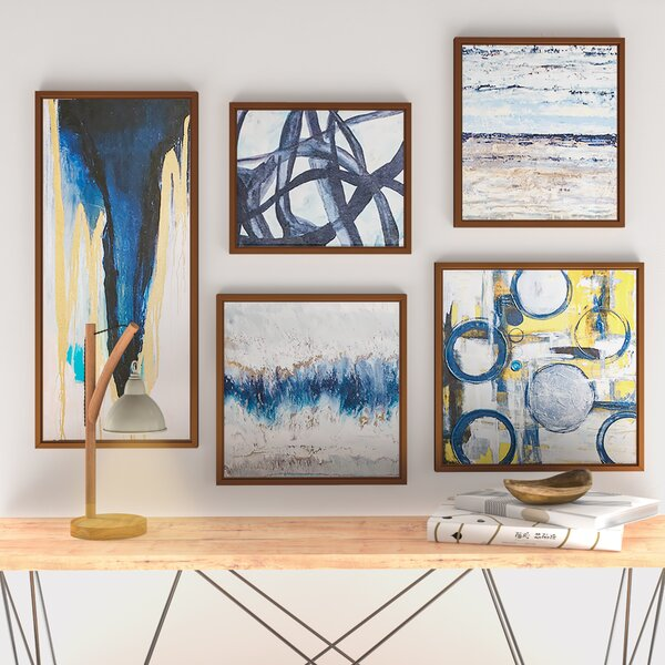 Blue Bliss 5 Piece Wrapped Canvas Graphic Art Print Set Reviews Allmodern
