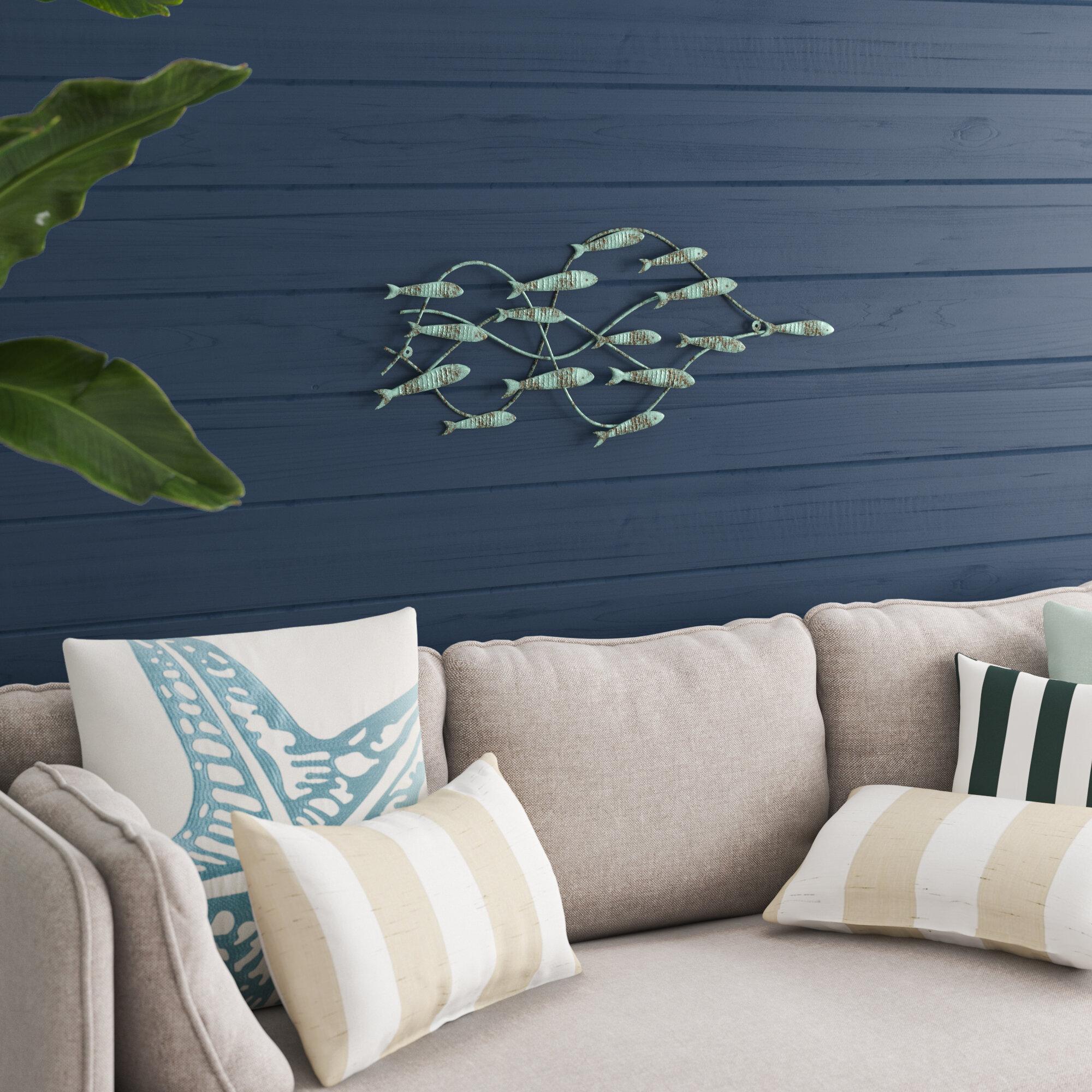 Decorative Distressed Iron School of Fish Widget Wall Decor