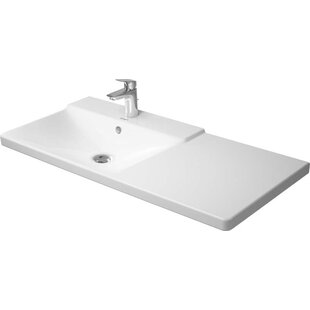 Price Check P3 Comforts Ceramic Rectangular Vessel Bathroom Sink with Overflow By Duravit