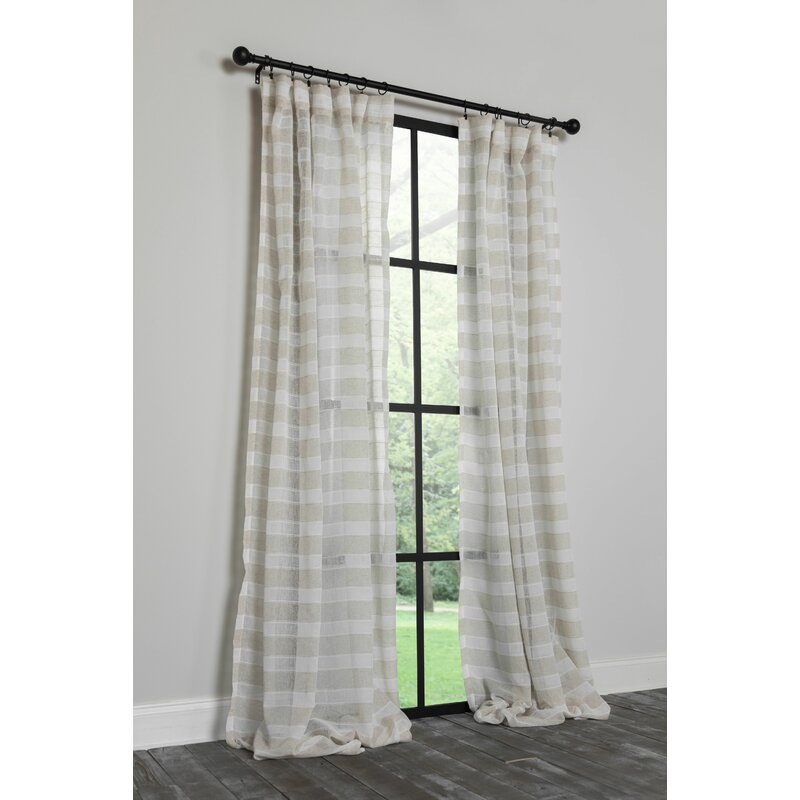 August Grove Haleema Danielle Striped Semi Sheer Rod Pocket Single Curtain Panel Wayfair