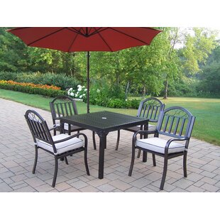Lisabeth Traditional 5 Piece Dining Set with Cushions and Umbrella by Red Barrel Studio