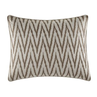 Sandy Coast Ikat Embroidered Cotton Lumbar Pillow