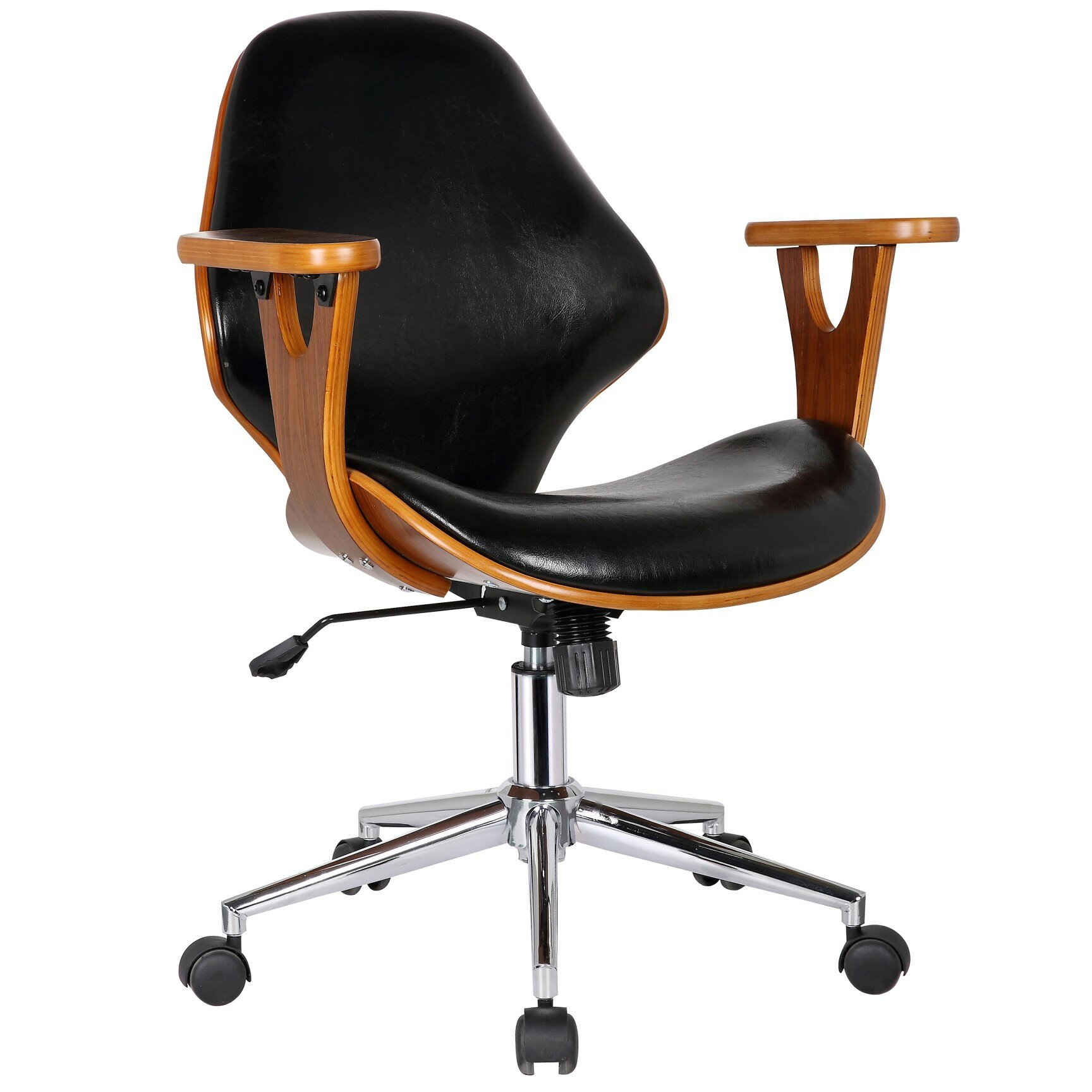 Langley Street Felson Mid Back Leather Desk Chair U0026 Reviews | Wayfair