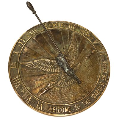 Brass Peace Dove Sundial Rome Industries