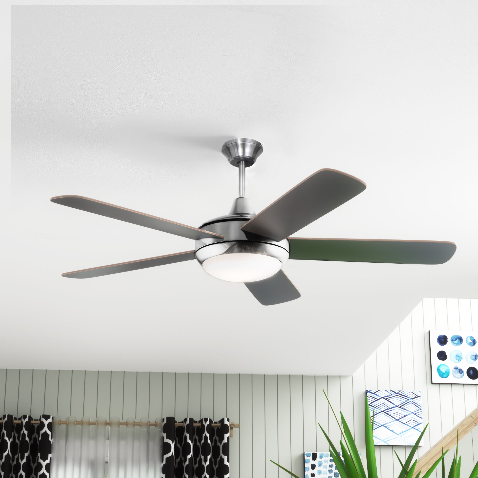 Ceiling Fans Matte White Ceiling Fan With Light Kit 36 Inches Indoor 6 Blades Reversible