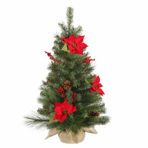 Faux Mini 3' Green Pine Artificial Christmas Tree