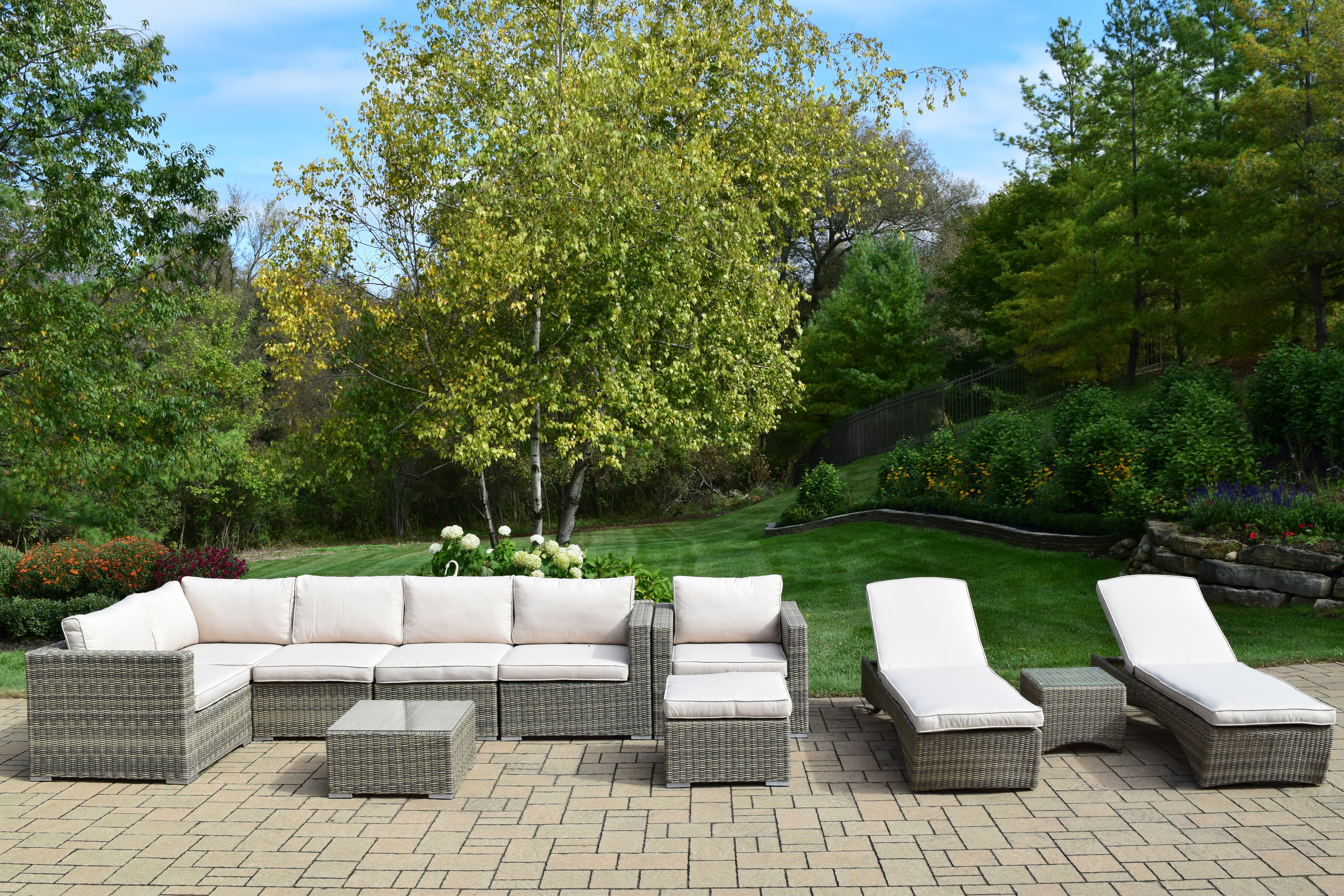 Oakland Living Borneo 11 Piece Sectional Set With Cushions Wayfair
