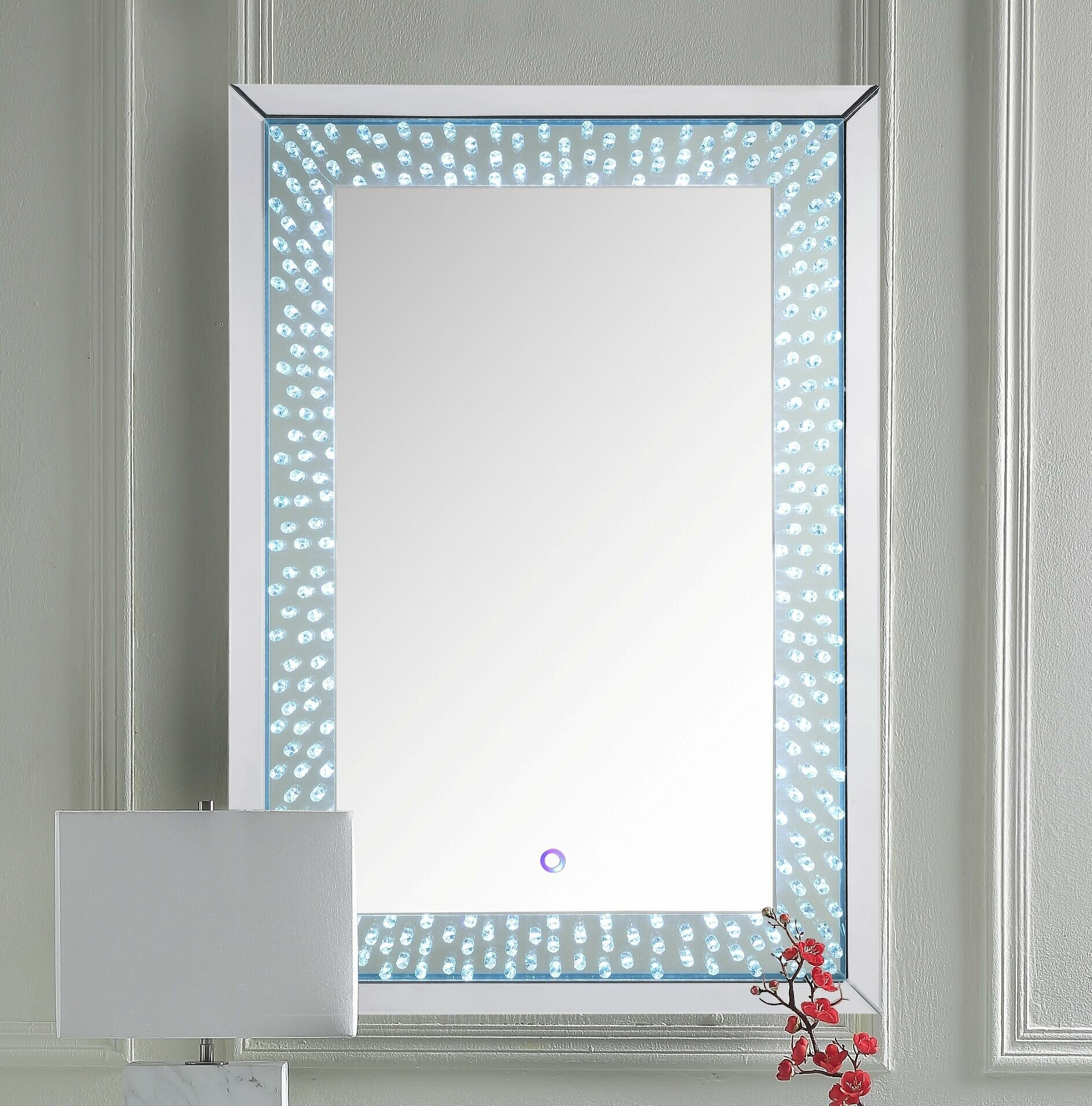 Mercer41 Pichardo Faux Crystals Glam Beveled Lighted Accent Mirror Wayfair
