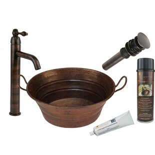 Premier Copper Products Copper Circular Vessel Bathroom Sink with Faucet