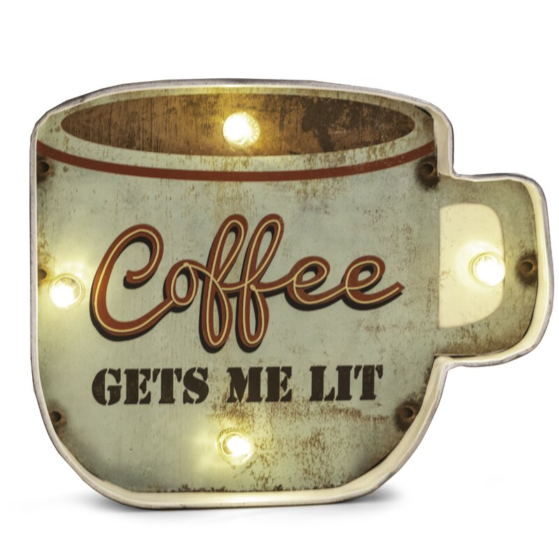 LED Lit Wall Decorations - Coffee Gets Me Lit Wall Décor