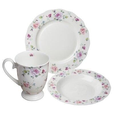 August Grove Stockwell Bone China Romantic Rose 12 Piece Dinnerware Set, Service for 4