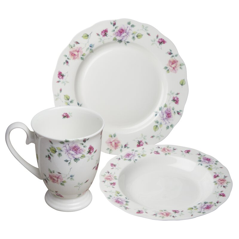 August Grove Stockwell Bone China Romantic Rose 12 Piece Dinnerware Set, Service for 4