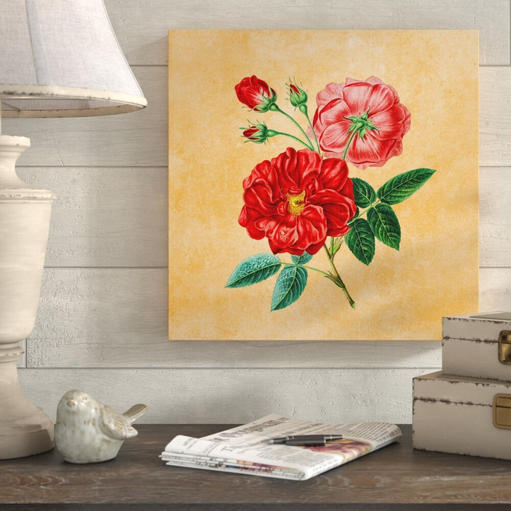 Ophelia & Co. \'Red Rose Art\' Graphic Art Print on Wrapped Canvas ...