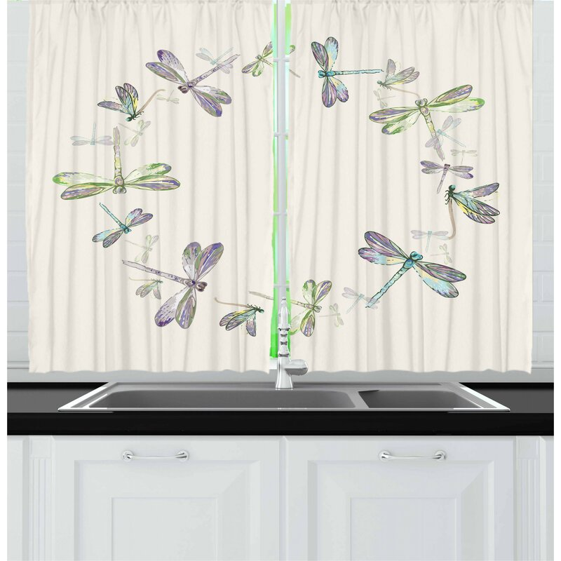 East Urban Home Dragonfly 2 Piece Kitchen Curtain Set Wayfair