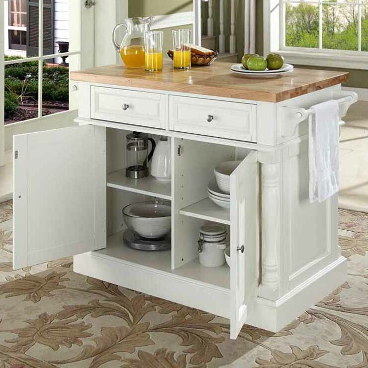 Three Posts Haslingden Kitchen Island With Butcher Block Top Reviews Wayfair