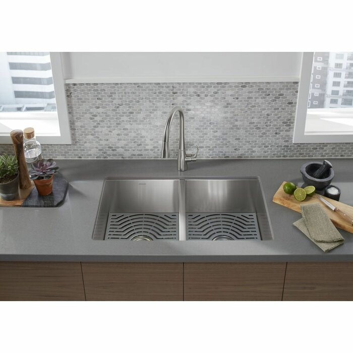 Ludington Under Mount Double Equal Kitchen Sink With Accessories