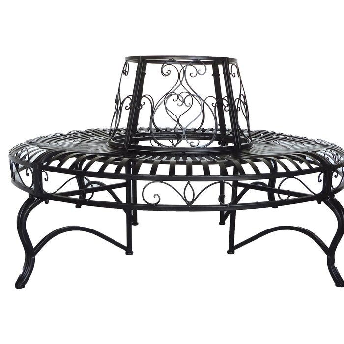 Halstead Surround Outdoor Patio Furniture And Decoration Metal Tree Bench