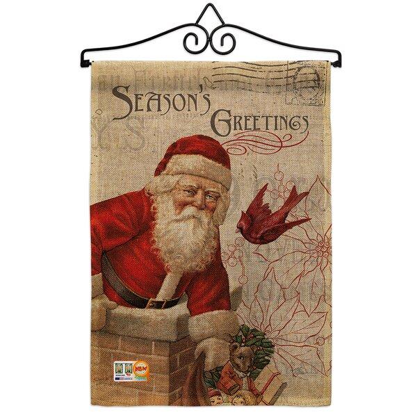 Breeze Decor Antique Santa Holiday Winter Christmas 2 Sided Burlap 19 X 13 In Garden Flag Wayfair