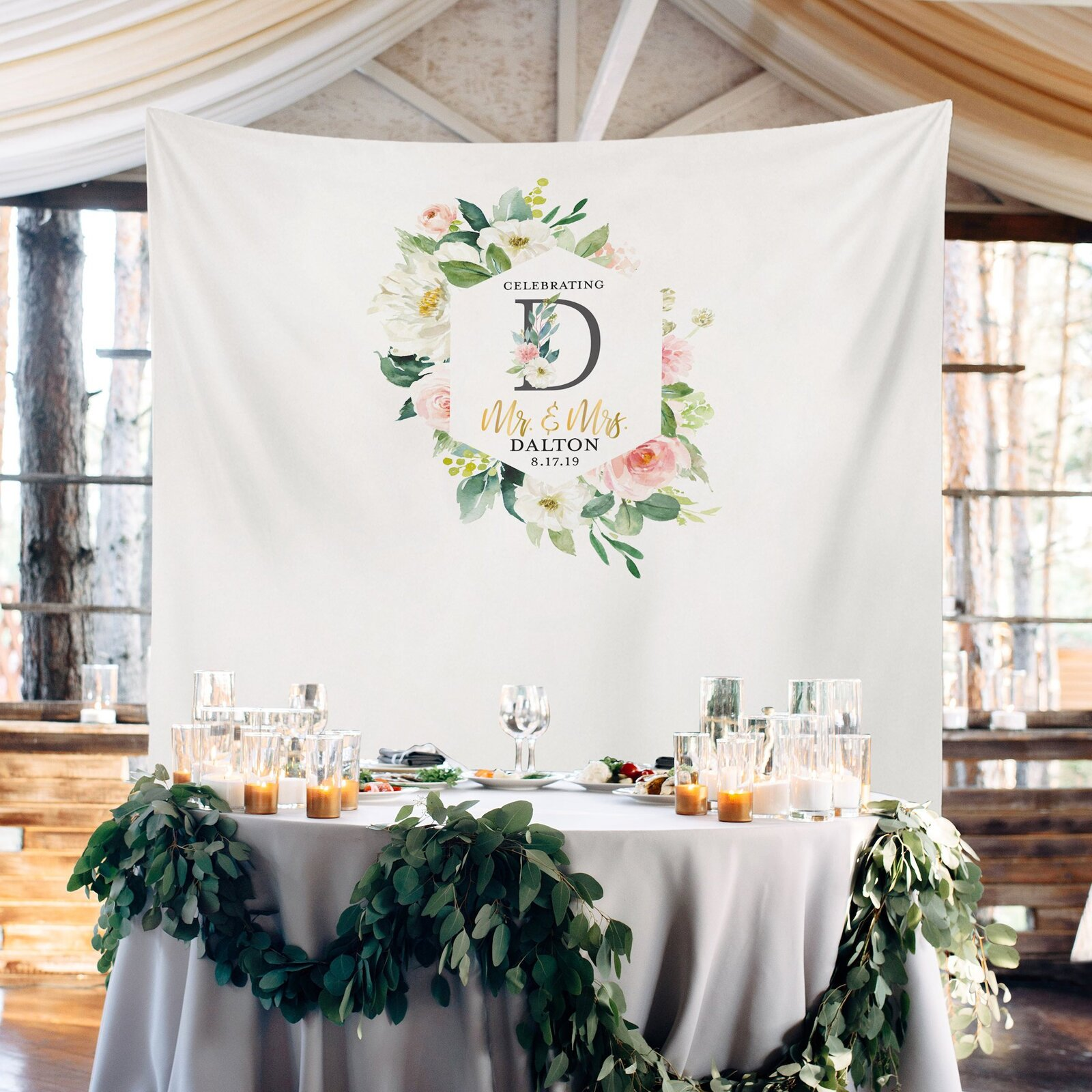 PaperRamma Champage Blush Monogram Wedding Backdrop | Wayfair