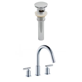 American Imaginations Off Center Brass Faucet Set with Drain