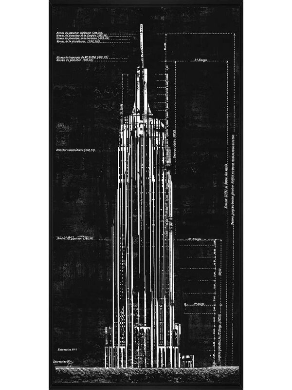 Williston Forge Empire State Building Architectural Drawing Framed Graphic Art Print On Canvas Wayfair