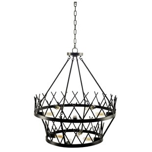 Williston Forge Bronagh 9-Light Wagon Wheel Chandelier