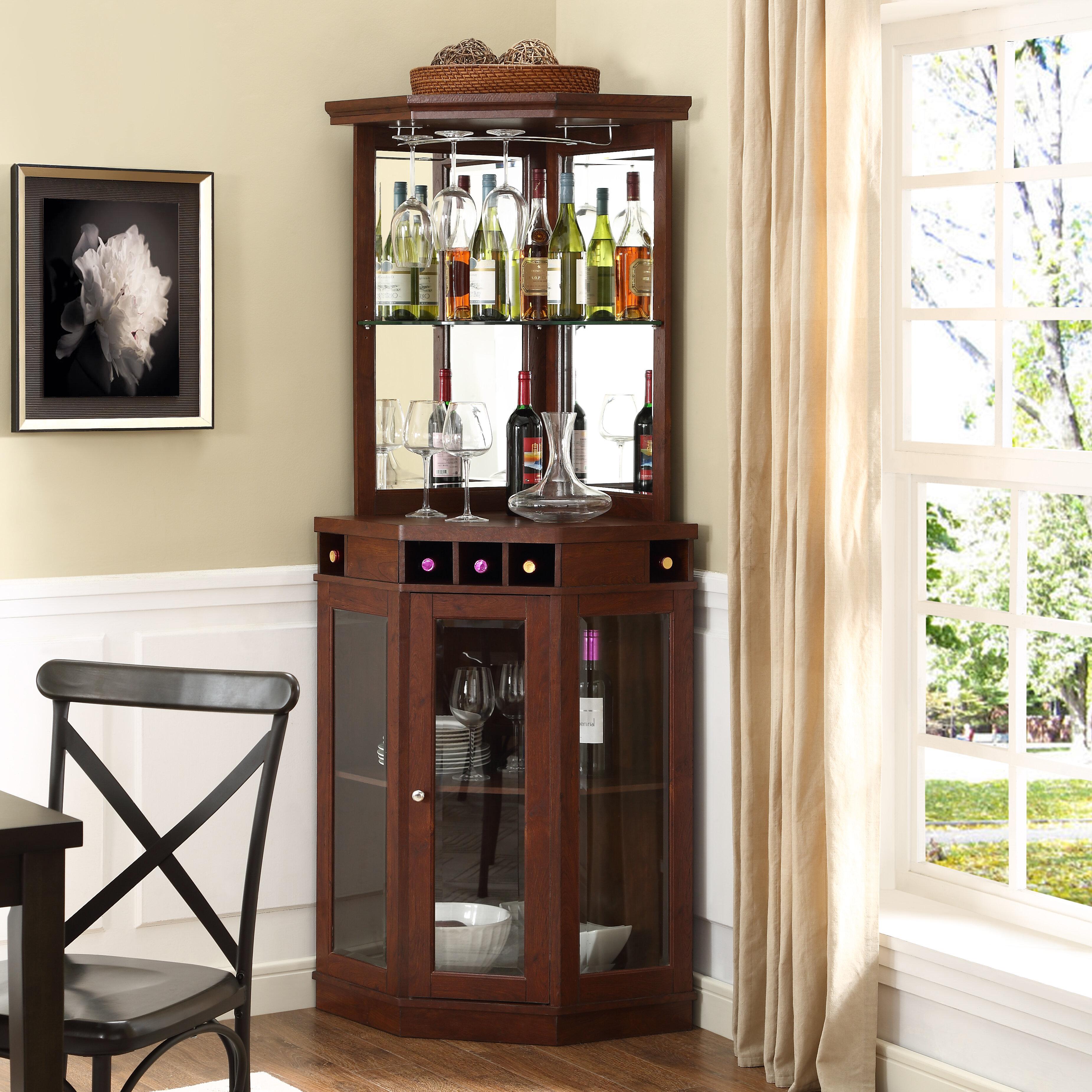 Mahogany Corner Arms Bar with Wine Storage