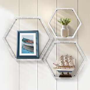 Moxee Metal Hexagon 3 Piece Floating Shelf Set