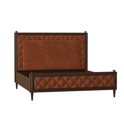 Caracole Classic Solid Wood and Upholstered Low Profile Platform Bed  Body Fabric: Spa Herringbone, Frame Color: Warm Ebony, Size: Queen