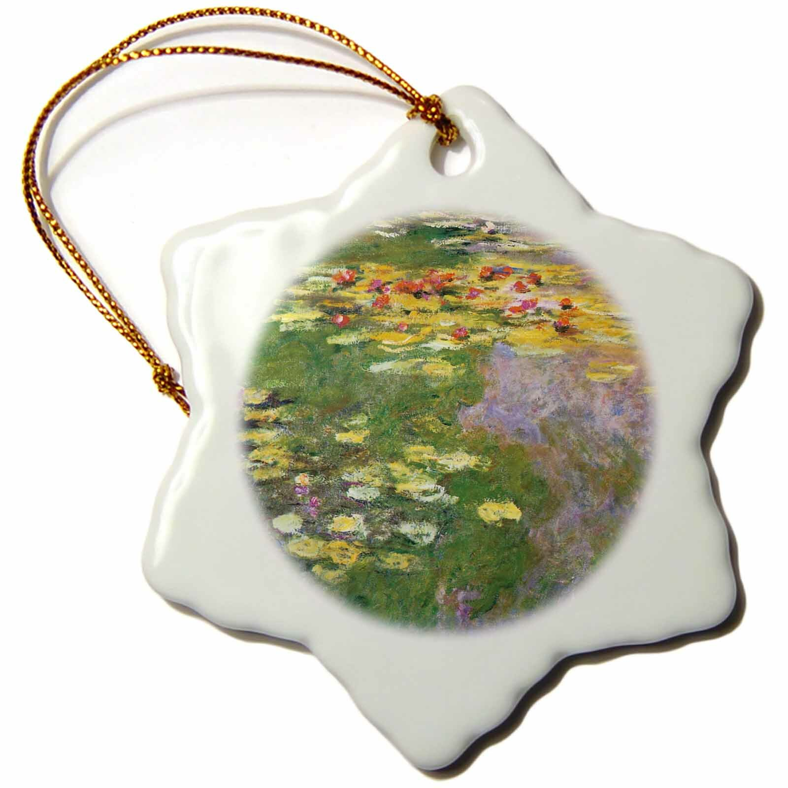 The Holiday Aisle Water Lily Pond Monet Snowflake Holiday Shaped Ornament Wayfair