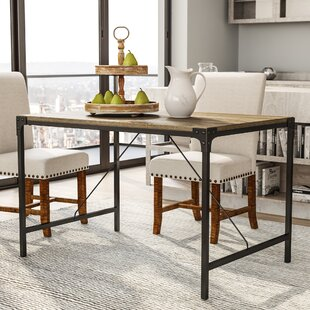Laurel Foundry Modern Farmhouse Madeline Angle Iron and Wood Dining Table