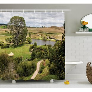 Hobbits Overhill Matamata New Zealand Movie Set Hobbit Land Village Movie Set Image Shower Curtain + Hooks