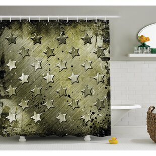 American Military Grunge Stars Shower Curtain Set