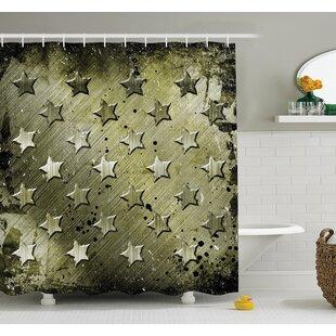 American Military Grunge Stars Shower Curtain Set