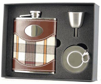 Visol Products Plaid Cloth Leather Stellar Hip Flask Gift Set Wayfair