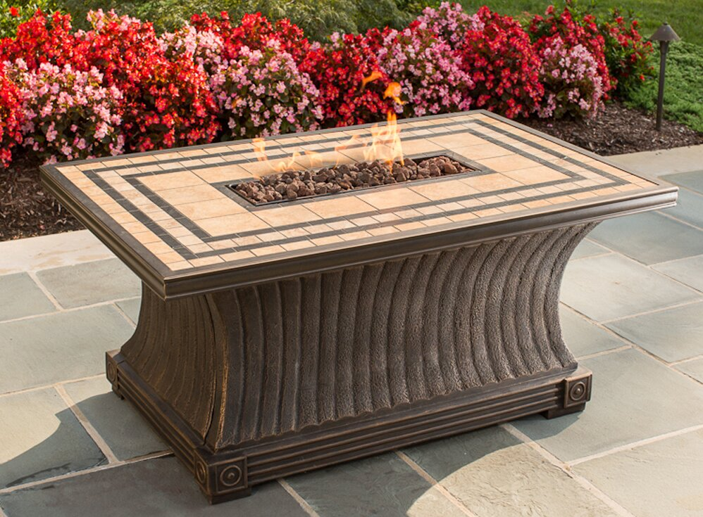 Tuscan Porcelain Top Stainless Steel Propane Gas Fire Pit Table