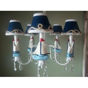 Silly Bear Lighting Nautical Sailboats 3-Light Shaded Chandelier