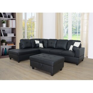 AlanoJames 1035 Faux Leather Sofa  Chaise with Ottoman