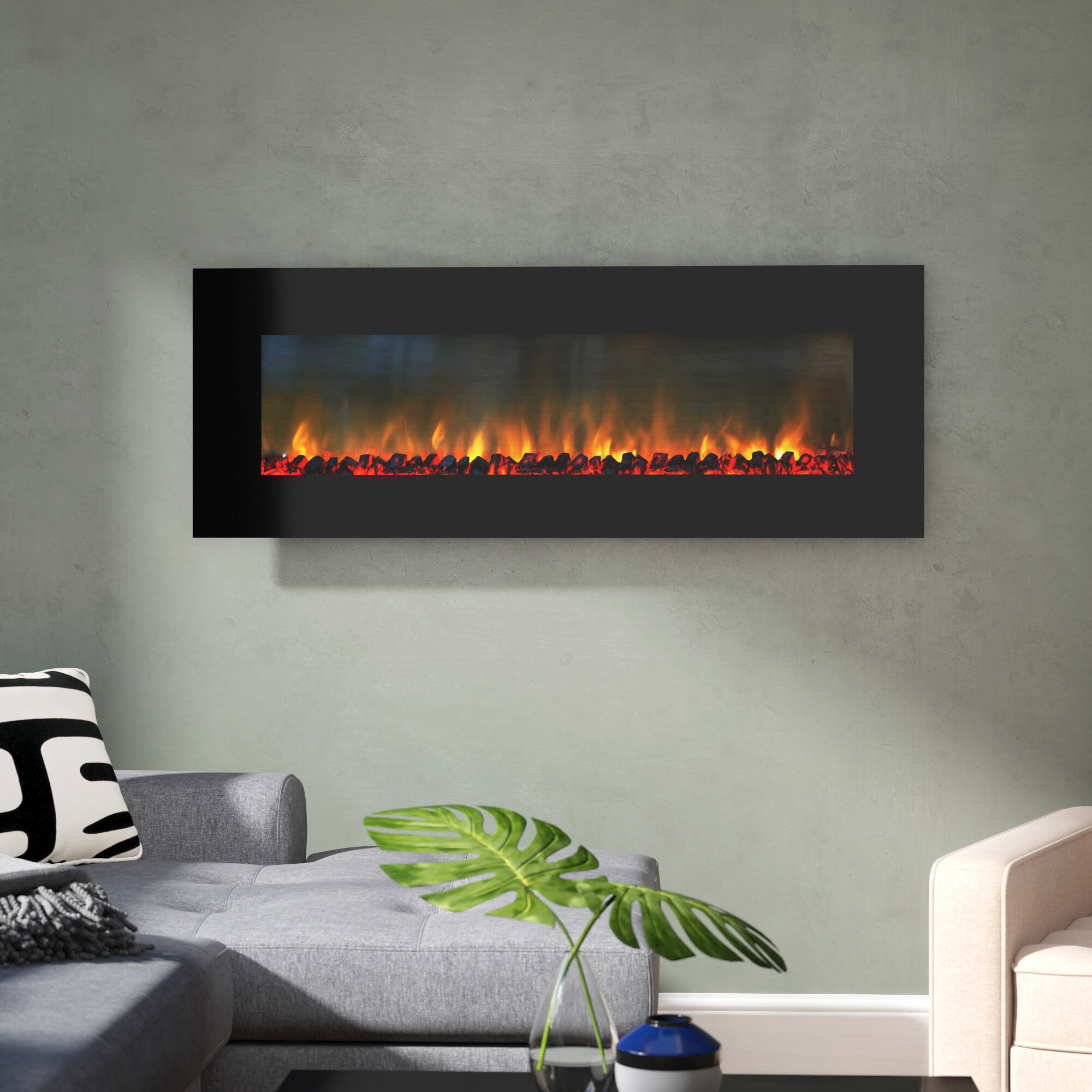 Orren Ellis Quevedo Wall Mounted Electric Fireplace Reviews Wayfair
