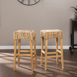 White Modern Desk Chair, Counter 24 27 Wicker Rattan Bar Stools Counter Stools You Ll Love In 2020 Wayfair