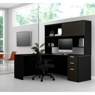 Kadian Modern Reversible L-Shape Corner Desk with Hutch