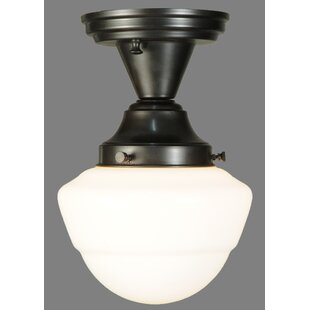 Revival Schoolhouse with Emma Globe 1-Light Semi Flush Mount by Meyda Tiffany