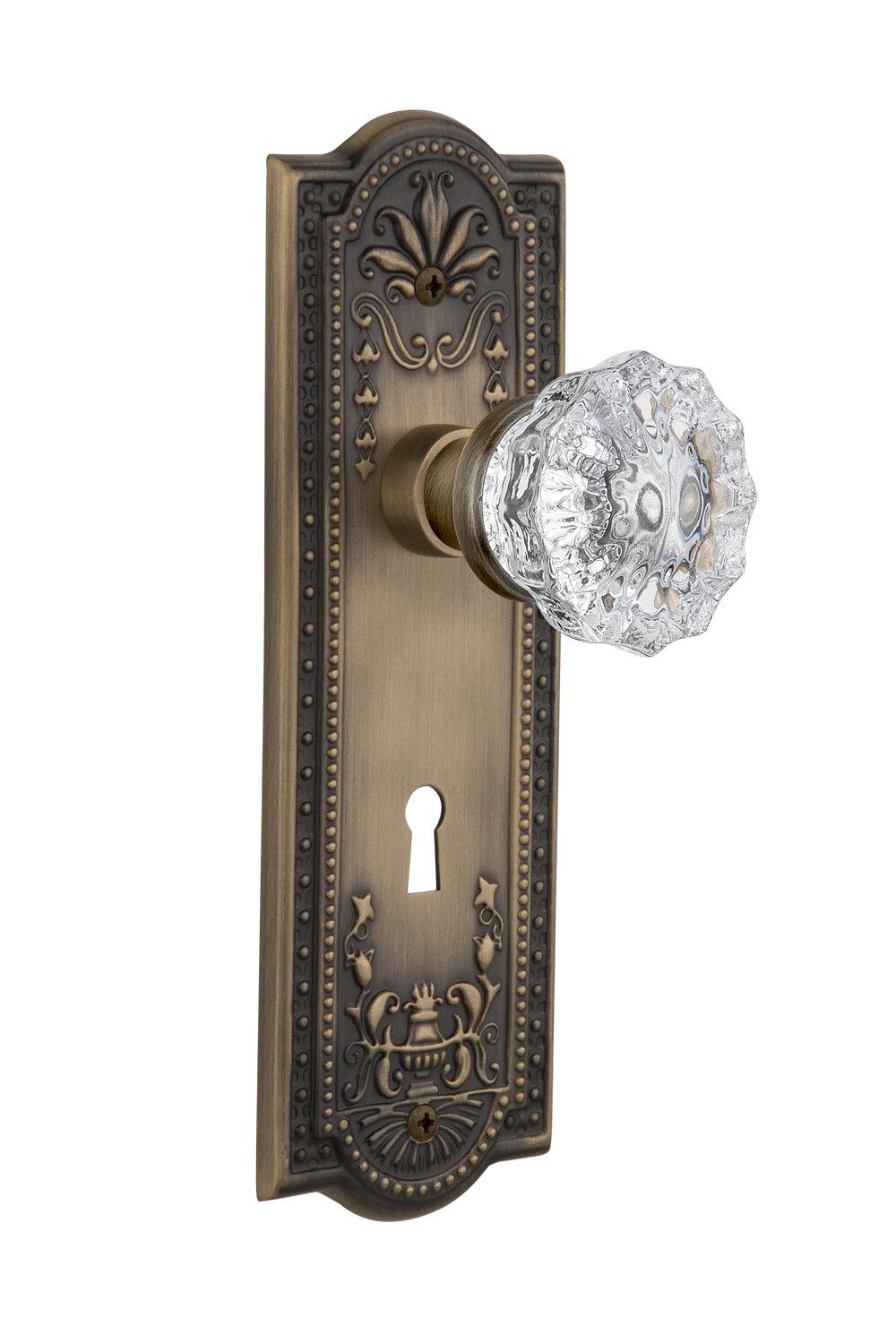 Nostalgic Warehouse Clear Crystal Double Dummy Door Knob With Keyhole Meadows Long Plate Wayfair