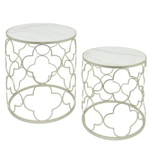 Metal andMarble 2 Piece Nesting Tables by..