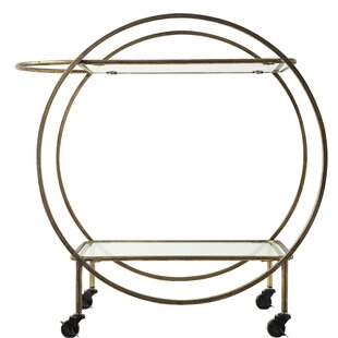 Shanklin Metal and Glass 2-Tier Bar Cart by Wrought Studio