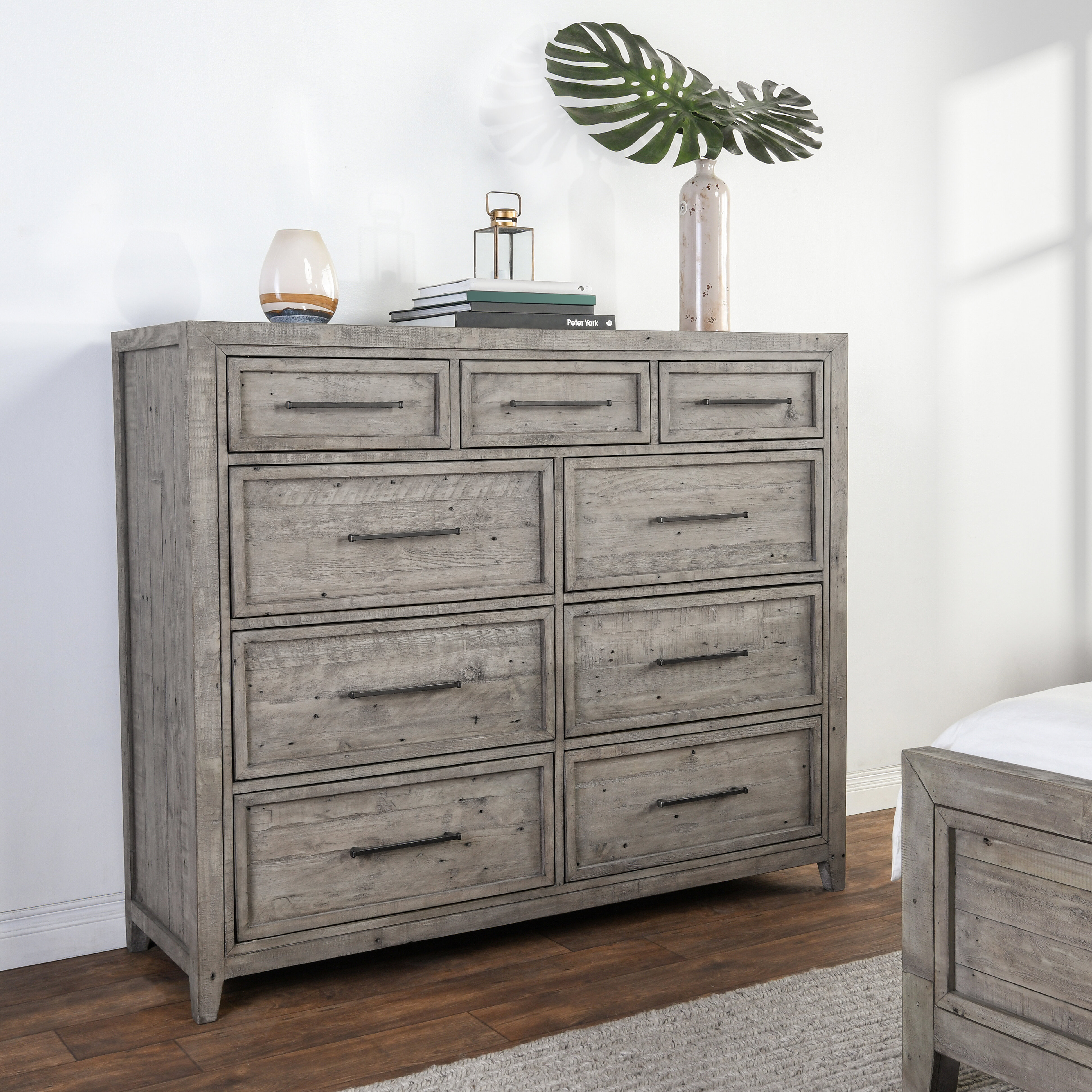 Millwood Pines Kimberley Reclaimed Pine 9 Drawer Double Dresser