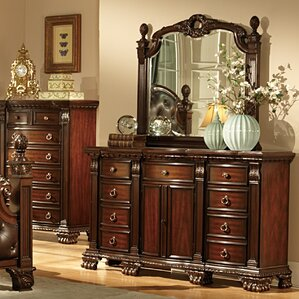 Orleans 9 Drawer Combo Dresser with Mirror by Woodhaven Hill